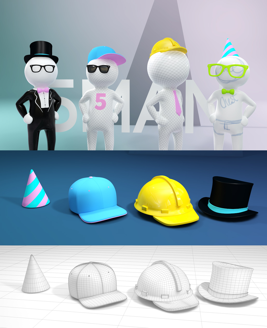 5man white c4d cinema 4d character rig dummy rigged man guy milk man hats suit