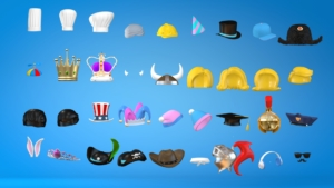 Cinema 4D rigged hats, crowns. horns, glasses, mustaches, caps helmet hard hat propeller bunny ears