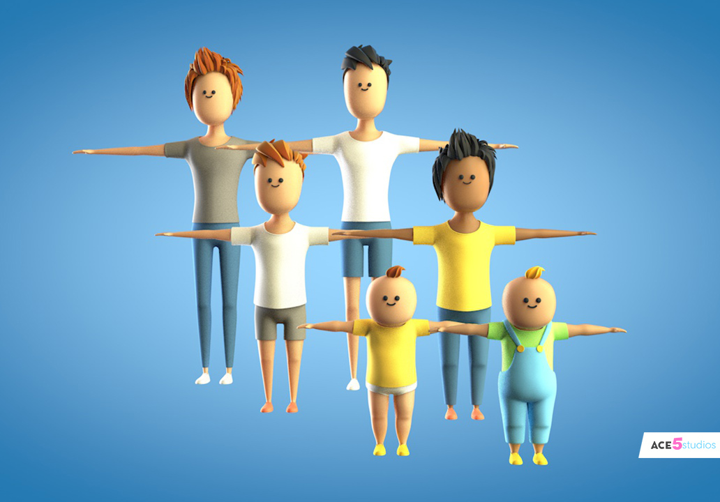 5J Kids - cinema 4d stylized rigged humans characters » Ace5studios