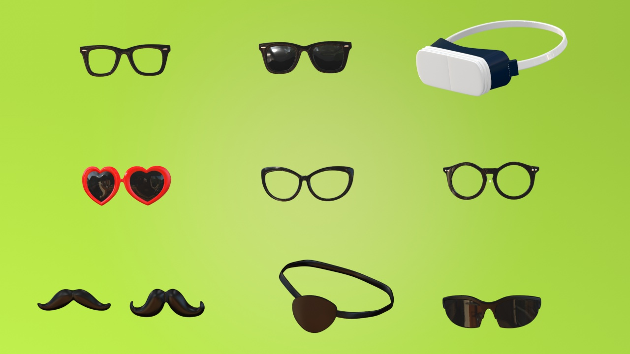 Cinema 4D rigged items - glasses, mustaches VR