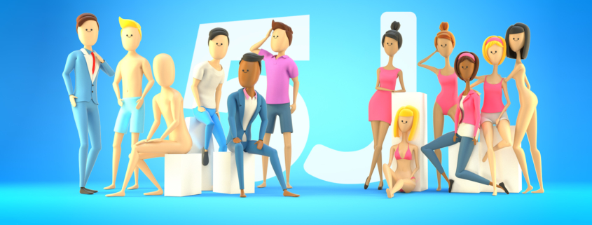 5J People - Cinema 4d stylized rigged humans characters
