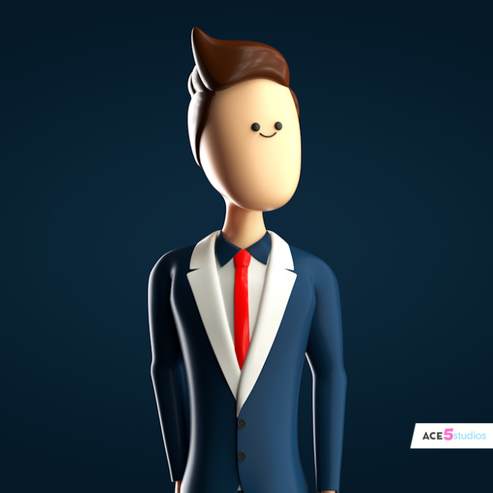 A rigged cinema 4D human male character wearing a suit.