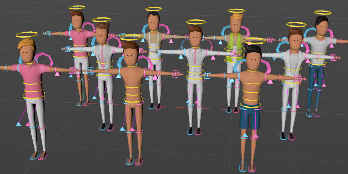 c4d rig human stylized character rigged in cinema 4d
