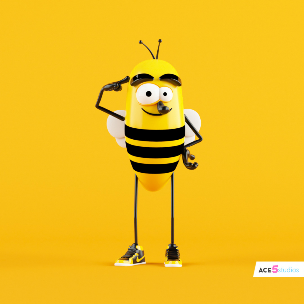 c4d rig bee character with wings and nike shoes