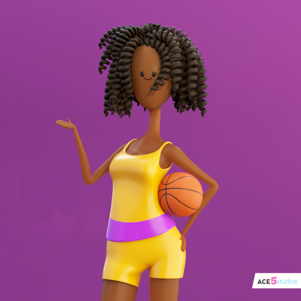 c4d rig character black girl with curly hair and basketball