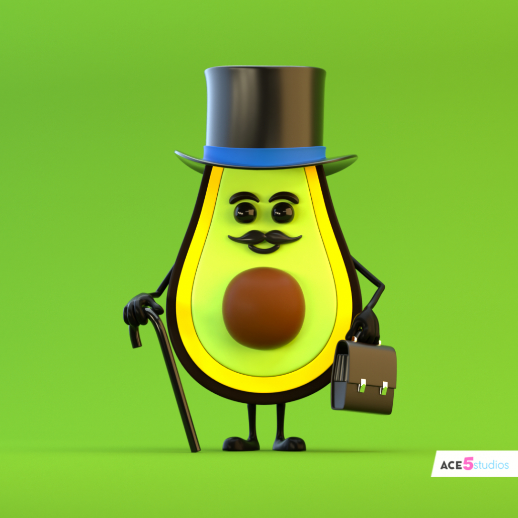 c4d rig avocado character with legs arms and cane