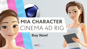 cinema 4d c4d rigged character female girl woman cartoon stylized