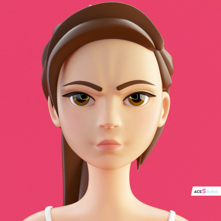 cinema 4d c4d rigged character female girl woman cartoon stylized angry rage