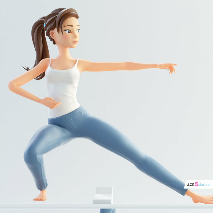 human cinema 4d c4d rigged character female girl woman cartoon stylized yoga