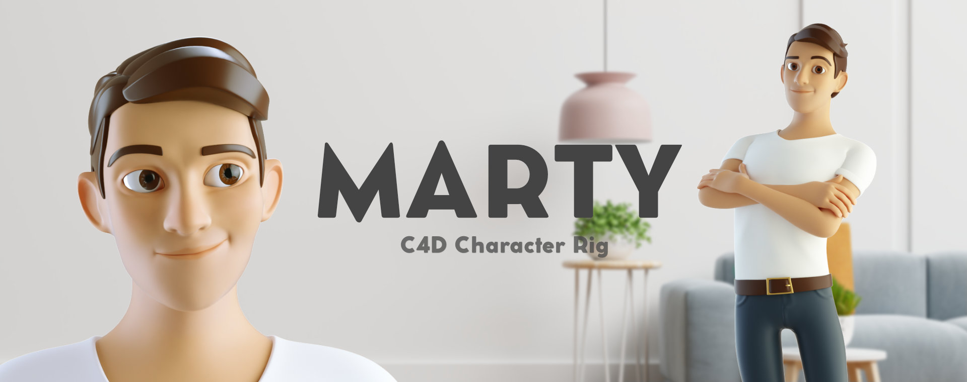 cinema 4d c4d rigged character male cartoon stylized