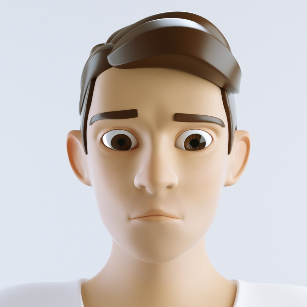 cinema 4d c4d rigged character male cartoon stylized sad man