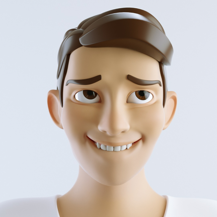 cinema 4d c4d rigged character male cartoon stylized very happy smile with teeth