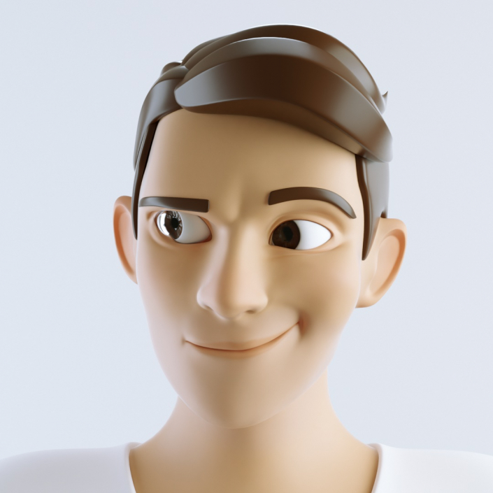 cinema 4d c4d rigged character male cartoon stylized smiling happy