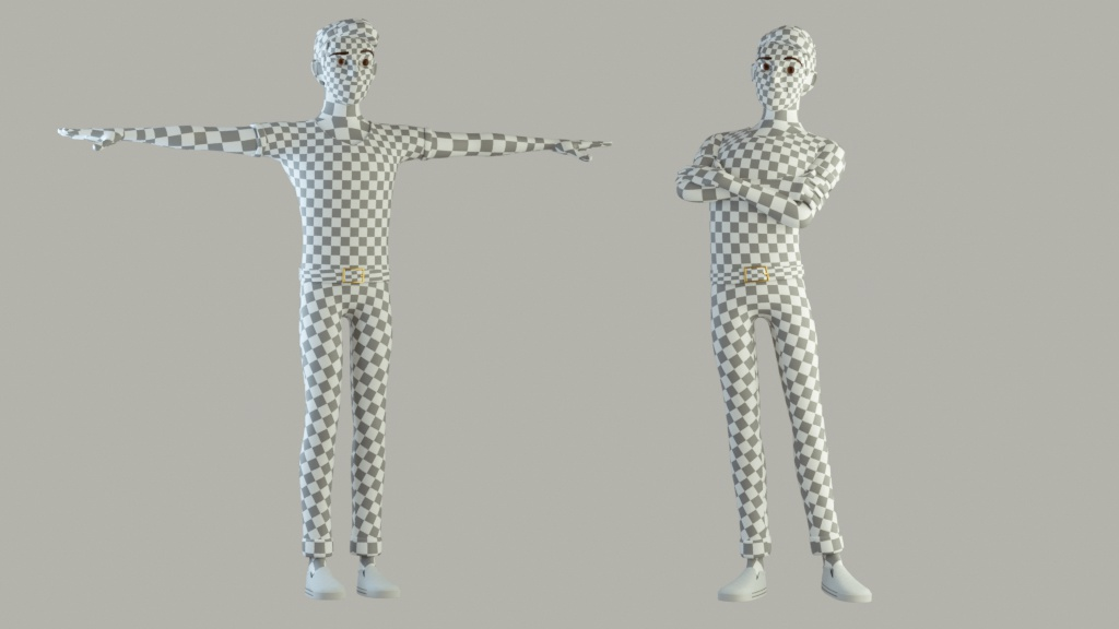 cinema 4d c4d rigged character male boy man cartoon stylized human uv texture grid texel