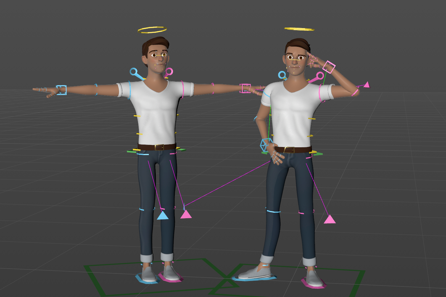 male character cinema4d c4d rig rigged cartoon stulized